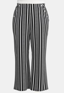 Plus Size Modern Stripe Wide Leg Pants