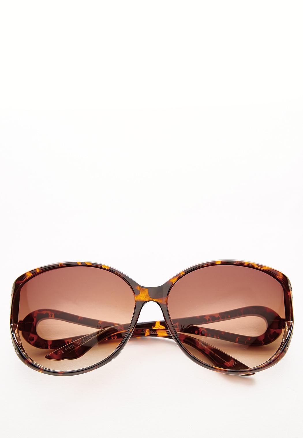 Rhinestone Side Round Sunglasses