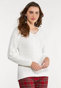 Plus Size Lace Neck Sweater