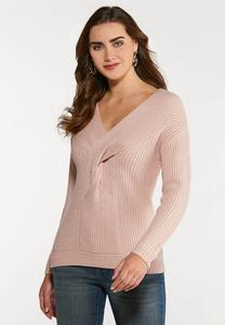 Pink Twist Front Sweater