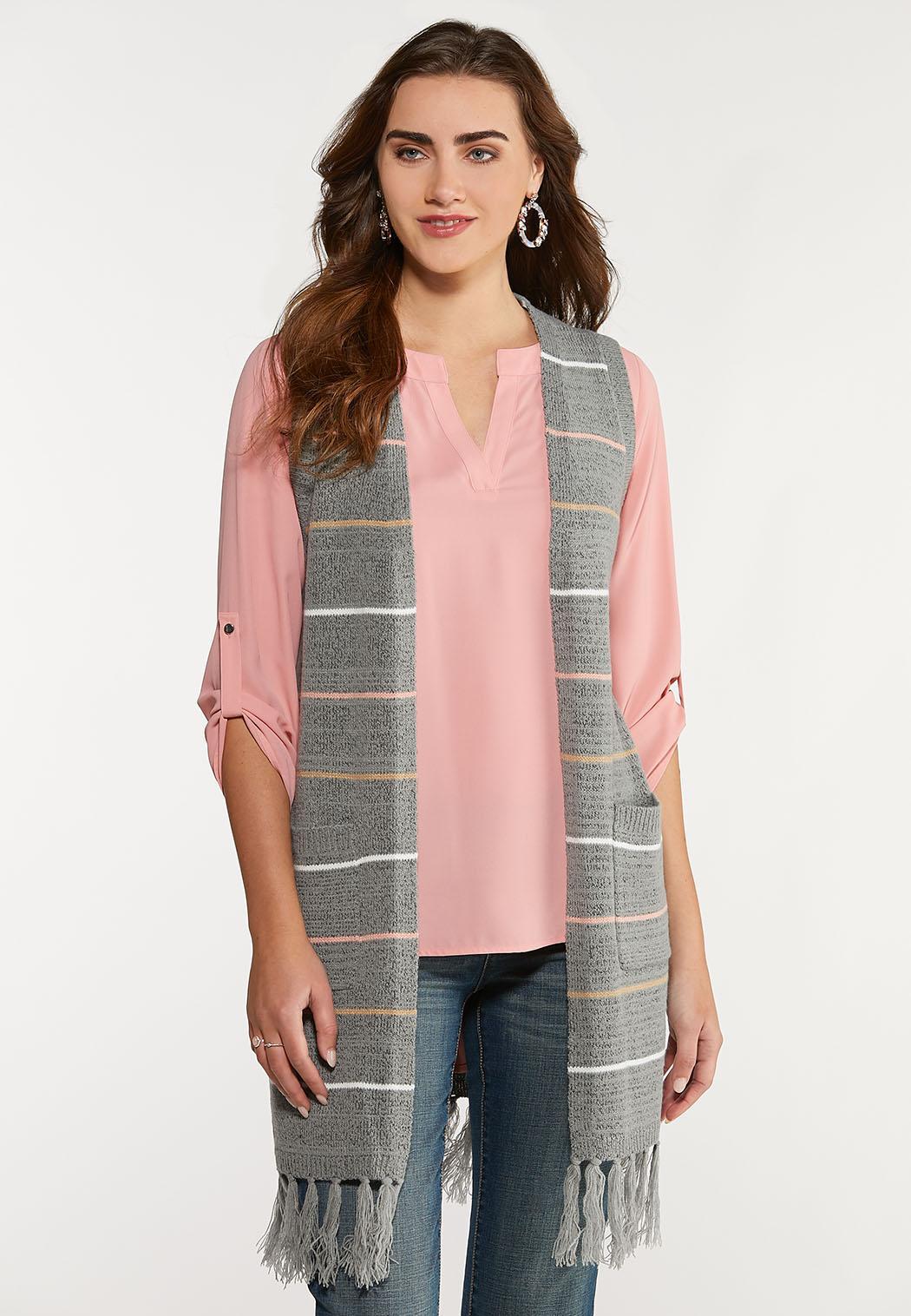 Plus Size Stripe Hooded Vest