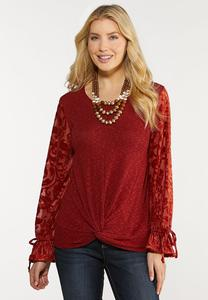 Plus Size Jacquard Tie Sleeve Top