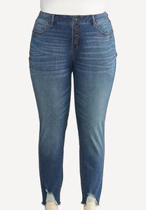 Plus Size Destructed Hem Skinny Jeans