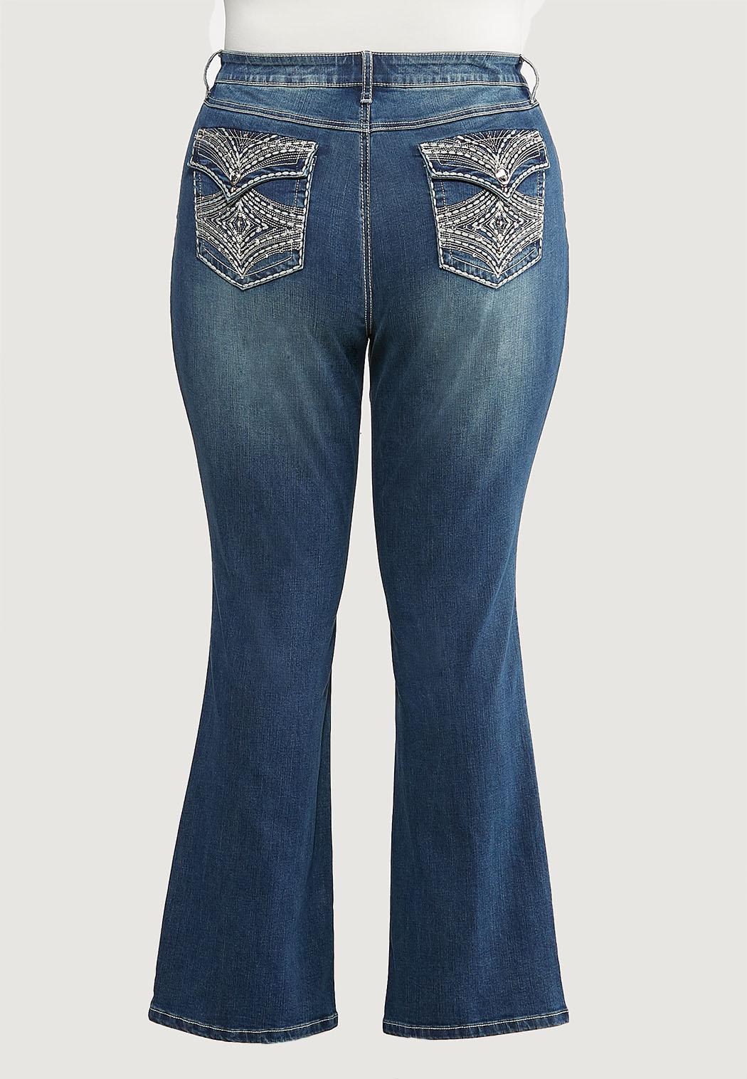 Plus Size Stud Stitch Bootcut Jeans