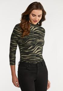 Plus Size Zebra Mock Neck Bodysuit