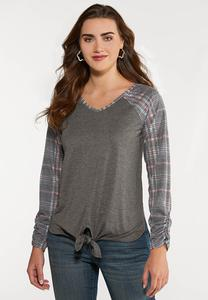 Plus Size Plaid Sleeve Baseball Tee