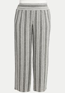 Plus Size Striped Linen Pants
