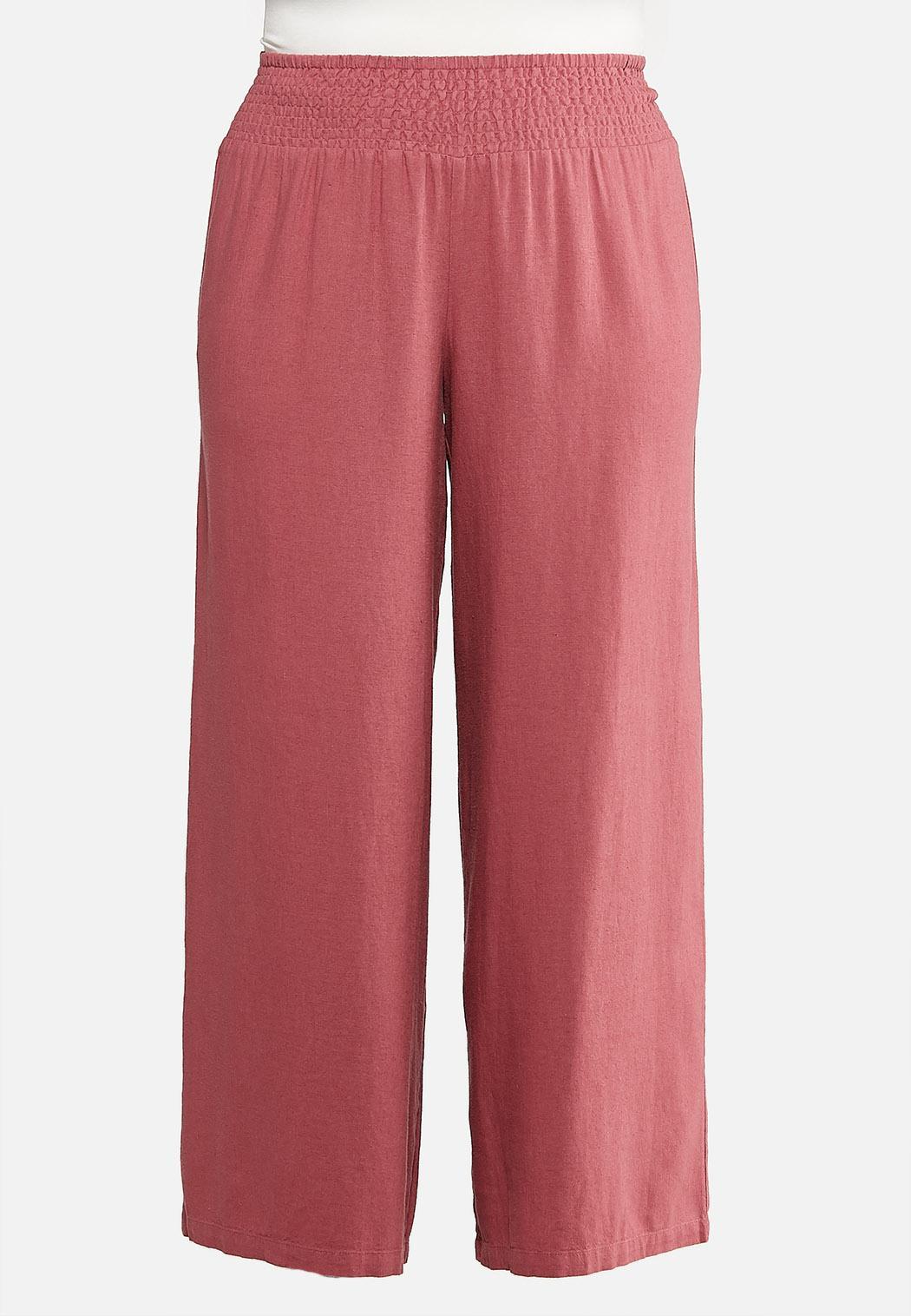 Plus Size Smock Waist Linen Pants