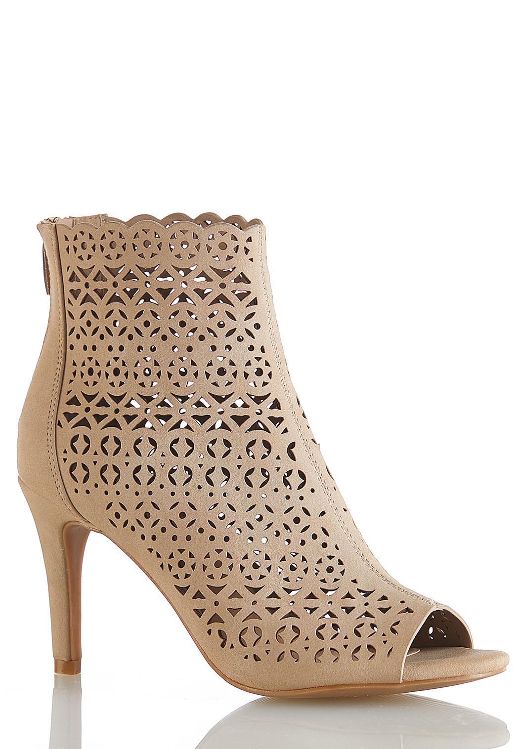 Laser Cut Peep Toe Heels