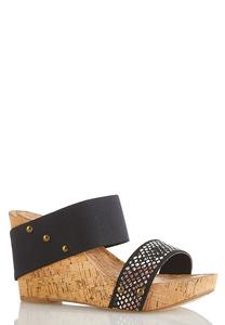 Snake Band Cork Wedges