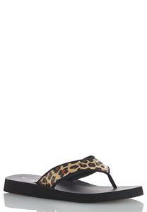 Leopard Strap Flip Flops