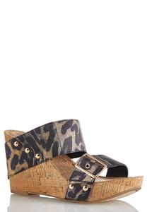 Leopard Buckle Band Cork Wedges