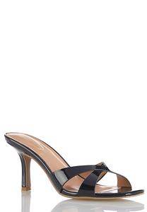 Patent Crossband Heeled Sandals