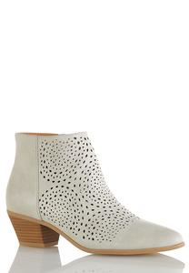 Wide Width Laser Cut Ankle Boots
