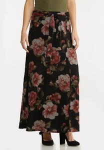 Plus Size Floral Ribbed Maxi Skirt