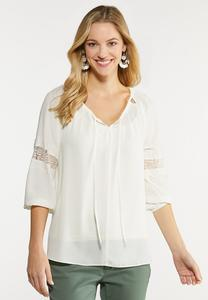 Plus Size Lace Panel Poet Top