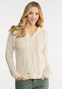 Speckled Cable Knit Sweater