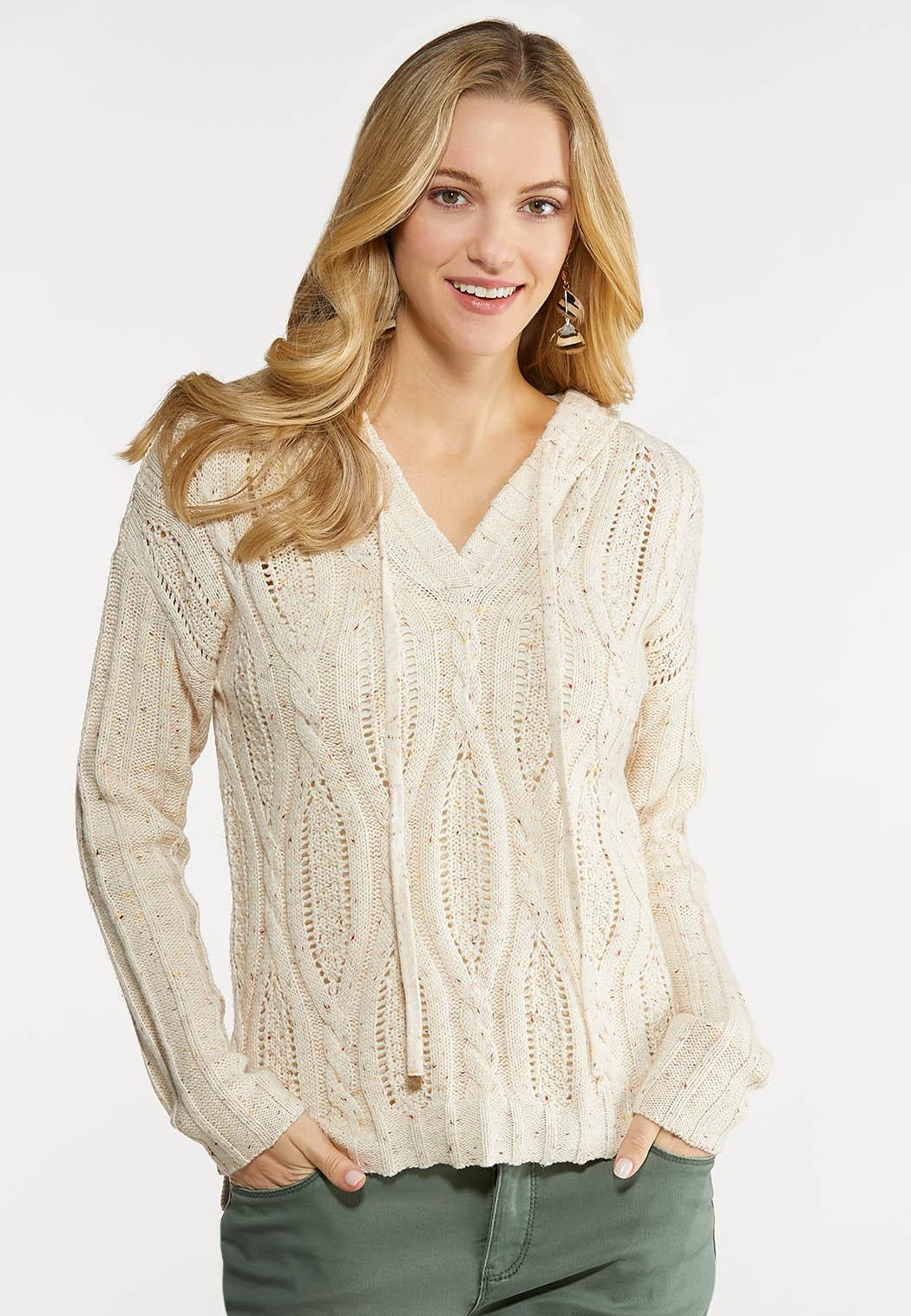 Plus Size Speckled Cable Knit Sweater