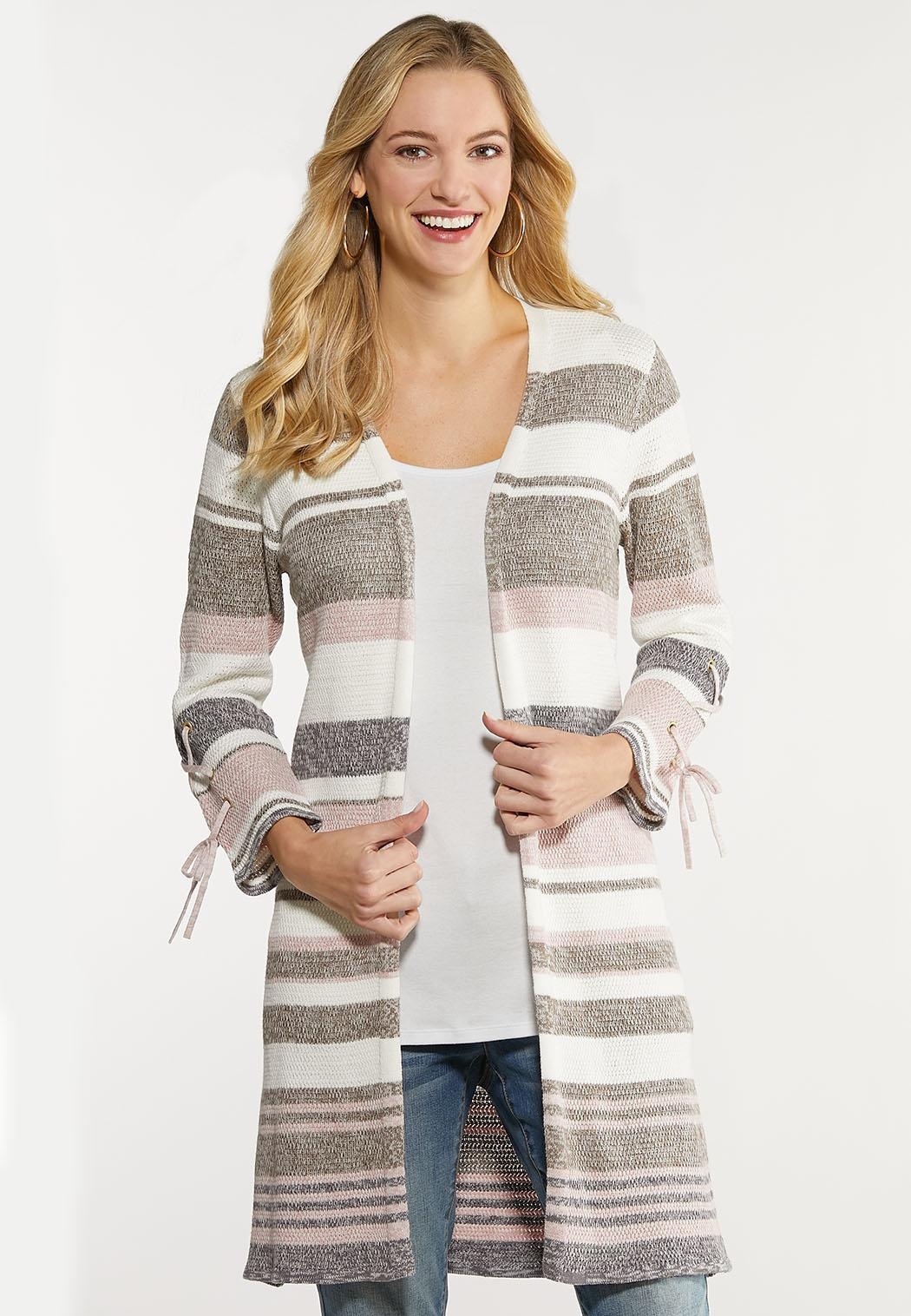 Plus Size Striped Grommet Cardigan Sweater