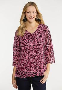 Plus Size Pink Pleated Leopard Top