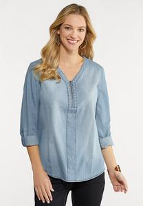 Plus Size Zip Front Denim Top