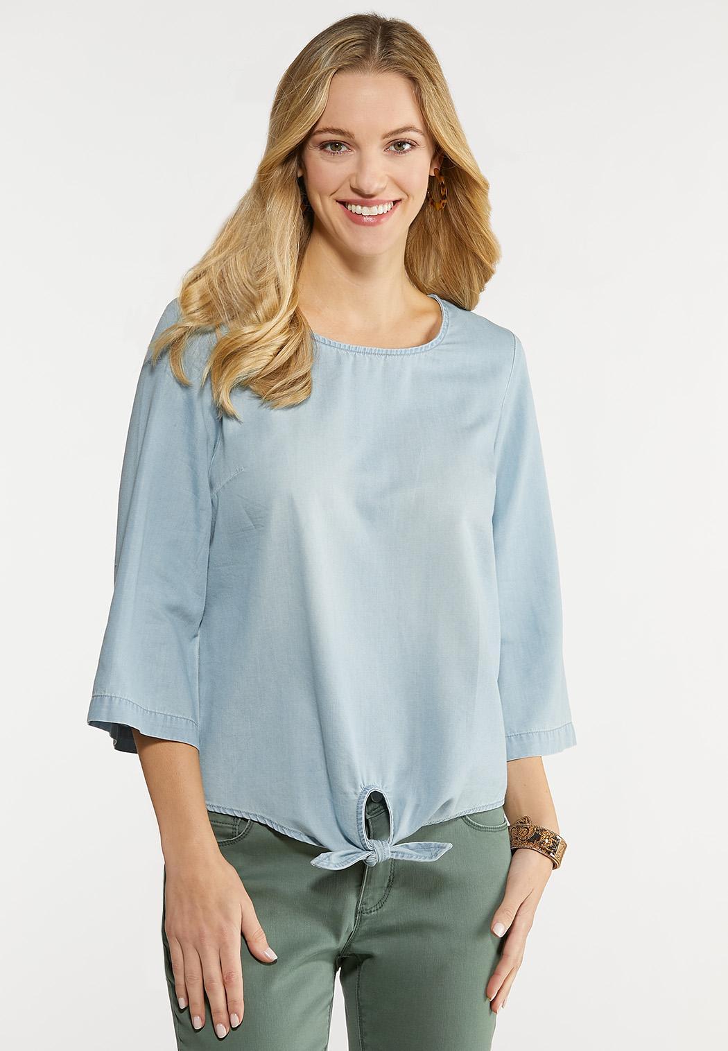 Plus Size Button Back Chambray Shirt