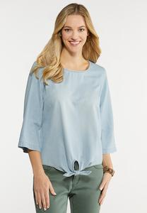 Plus Size Button Back Chambray Shirt