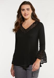 Plus Size Thermal Lace Trim Top