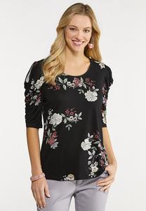 Plus Size Floral Draped Cold Shoulder Top