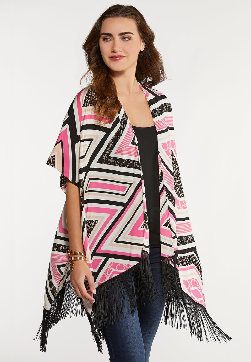 Diamond Geo Fringe Kimono