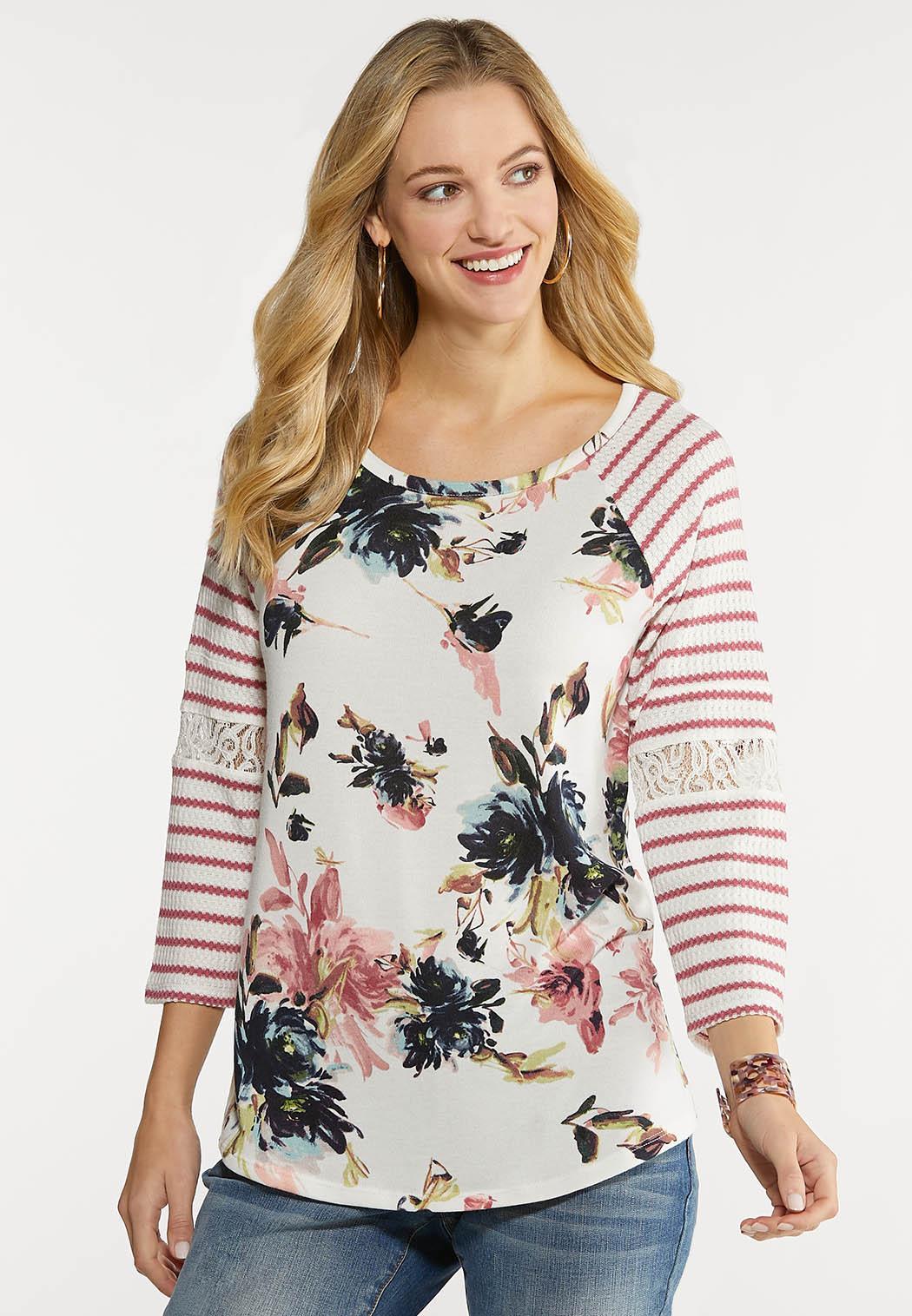 Plus Size Waffle Stripe Floral Top