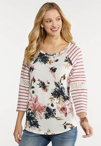 Plus Size Waffle Stripe Floral Top