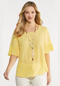 Plus Size Pleated Flutter Sleeve Top