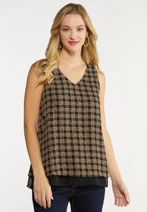 Plus Size Layered Knot Print Tank