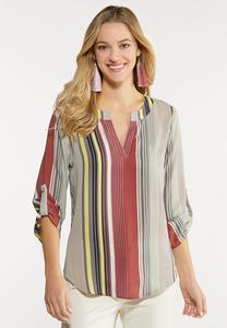 Plus Size Multi Stripe Popover Top