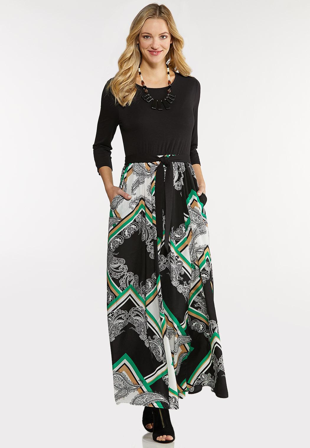 Plus Size Silky Scarf Maxi Dress