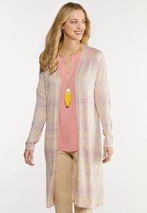 Plus Size Space Dye Duster Cardigan