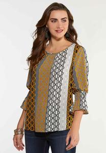 Plus Size Printed Smock Sleeve Top