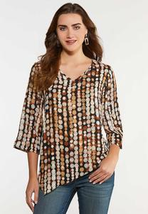 Plus Size Asymmetrical Swirl Dot Top
