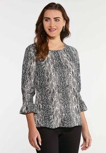 Plus Size Smock Sleeve Snakeskin Top