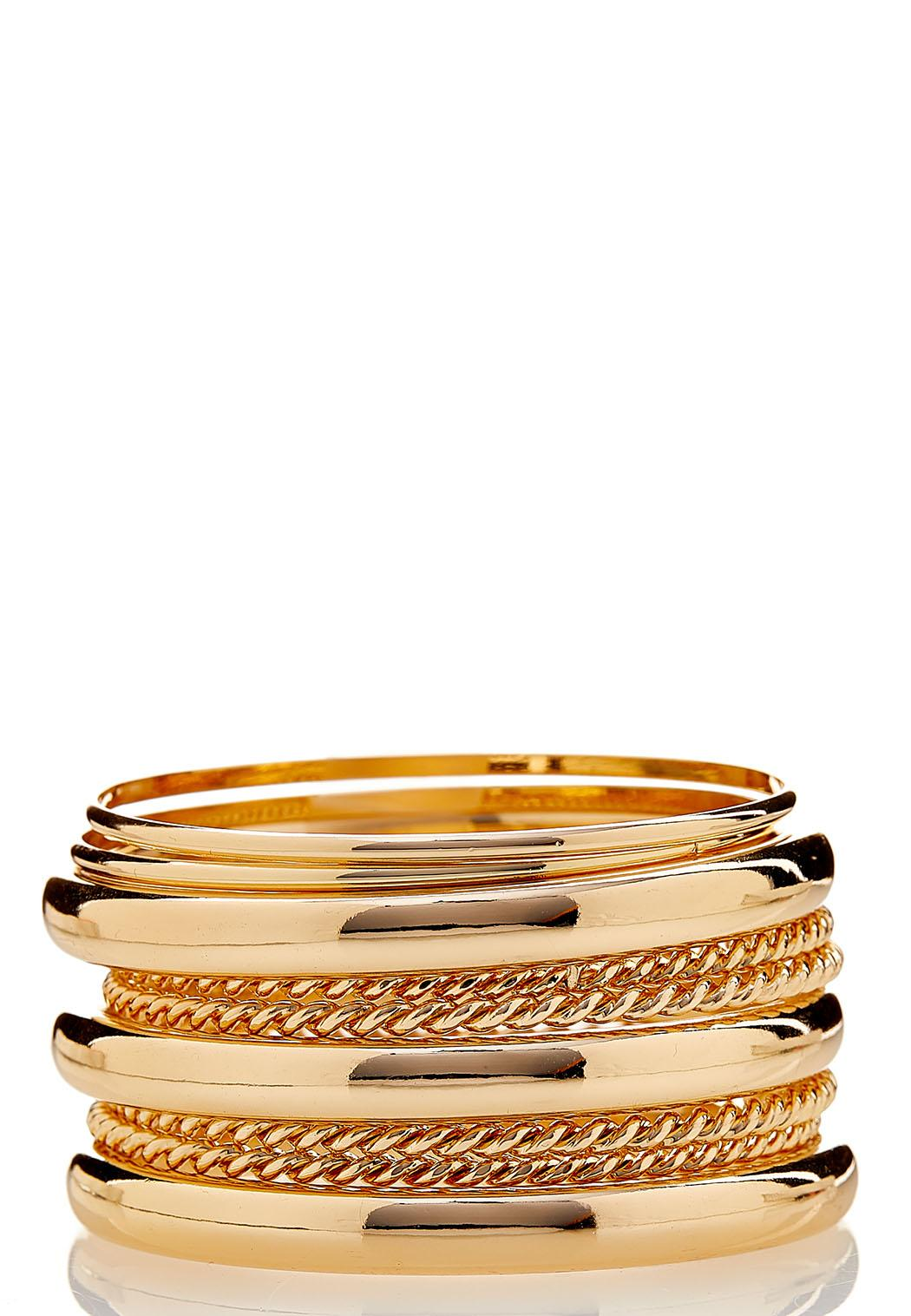 XL Mixed Gold Bangle Bracelet Set