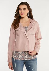 Plus Size Soft Pink Utility Jacket