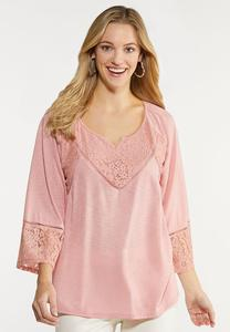 Plus Size Bell Sleeve Lacy Top