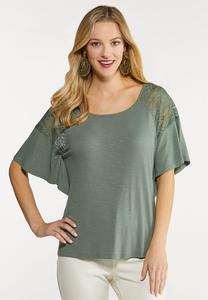 Plus Size Lace Flutter Sleeve Top