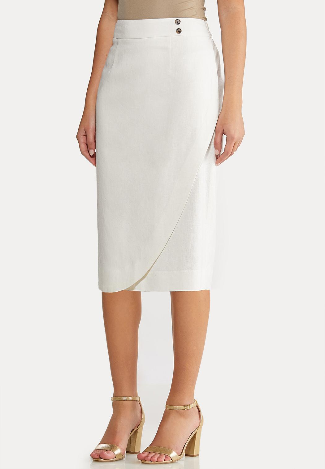 Plus Size Linen Pencil Skirt