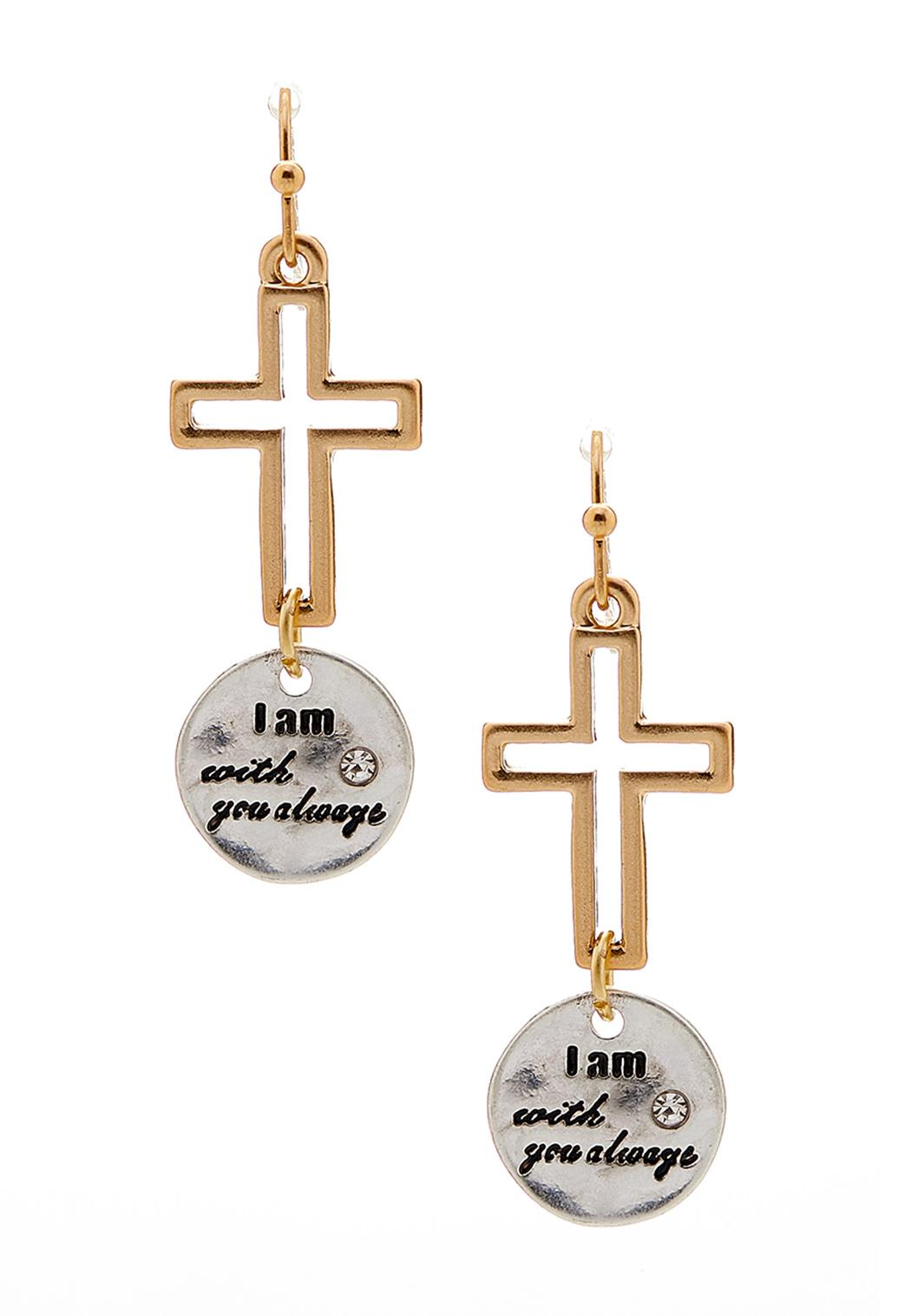 Engraved Disc Cross Earrings