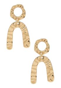 Mod Hammered Gold Earrings