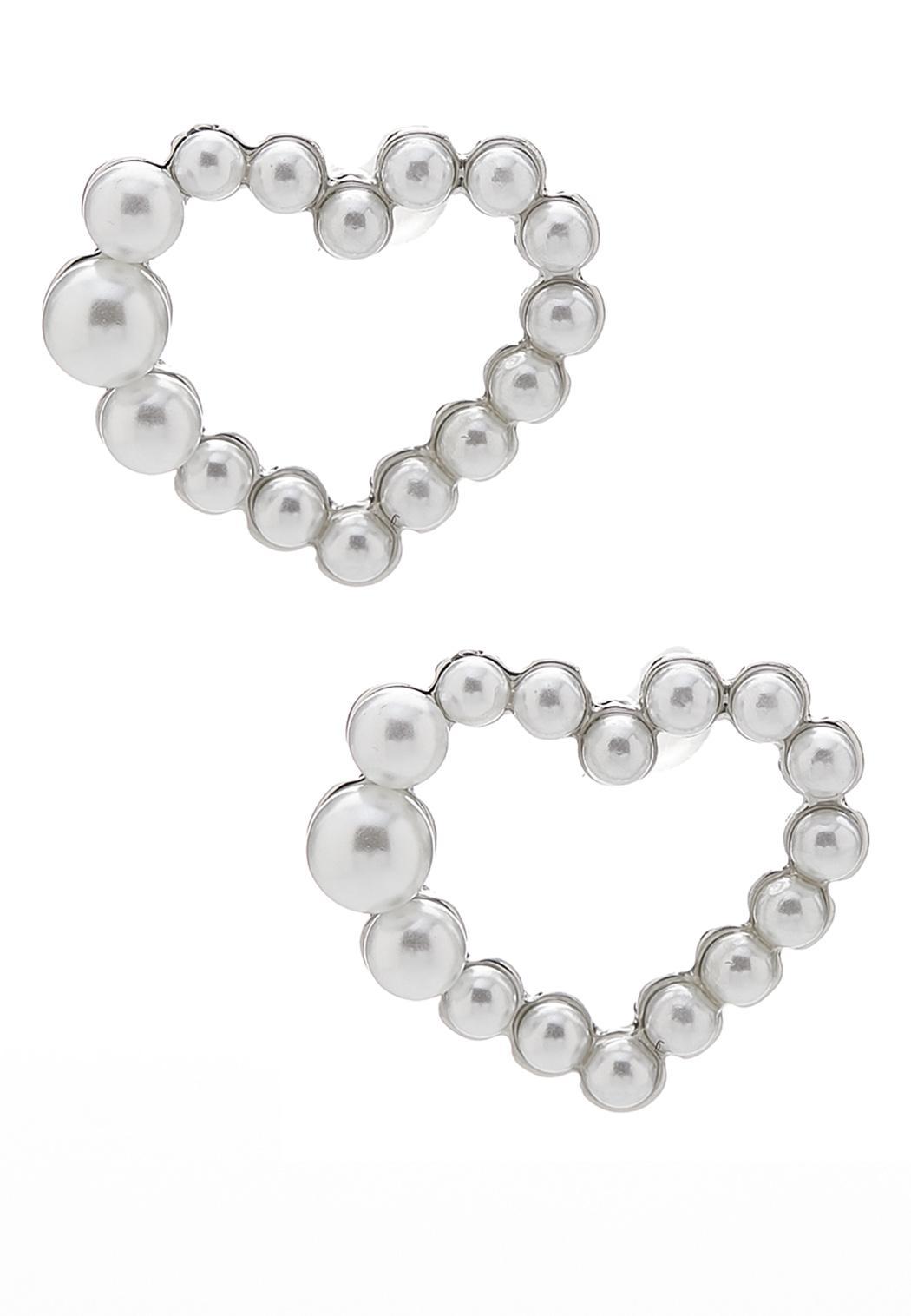 Pearl Heart Button Earrings