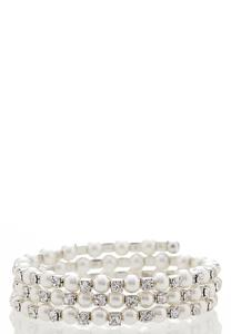 Pearl Bead Coil Bracelet