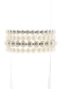Silver Pearl Stretch Bracelet